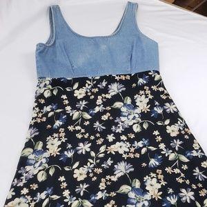 Dresses & Skirts - Vintage 90s Blosoom Denim Floral Maxi Dress